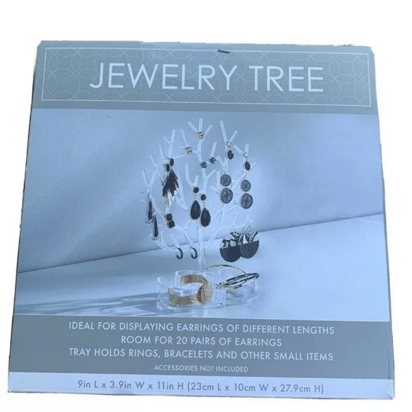Jewelry Tree Earring Display Organizer Clear Leave